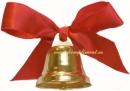 Колокольчик с красной атласной лентой (с булавочкой)
