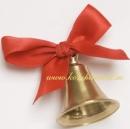 Колокольчик с красной атласной  лентой бронзовый
