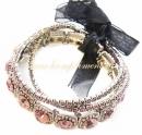Браслеты металлические, с розовыми камнями (3 штуки)