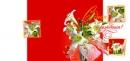Открытка мини «С днем рождения!» (с цветами)