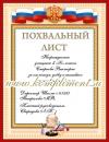 Похвальный лист (надпись на заказ)