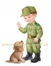 """Плакат """"Мальчик и щенок"""""""